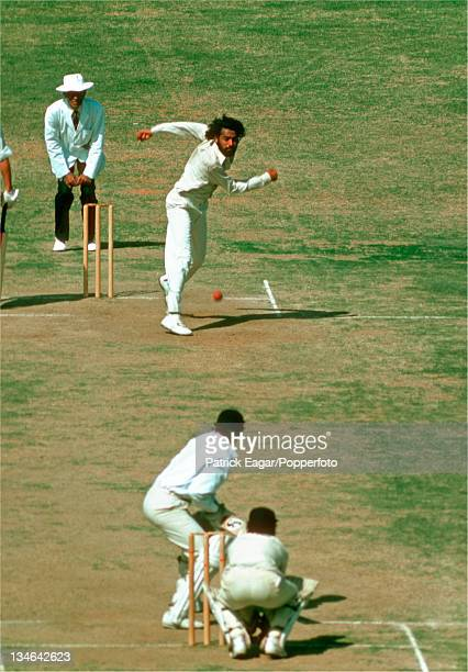 B S Chandrasekhar bowling to Roger Tolchard India v England 3rd Test Madras Jan 197677