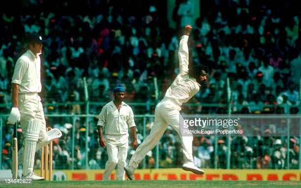 B S Chandrasekhar bowling Tony Greig backing up and BS Bedi in background India v England 3rd Test Madras Jan 197677