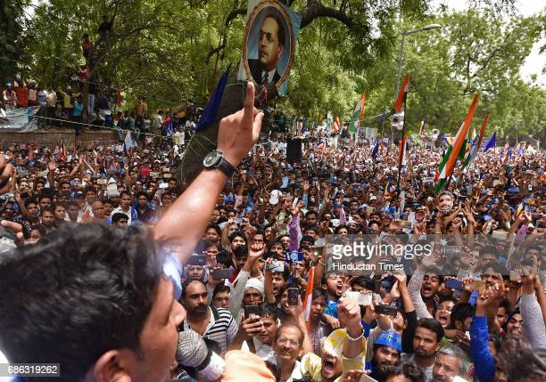 Chandrashekhar founder of Bhim Army addressing the crowd during the protest against injustice towards Dalits in Saharanpur at JantarMantar on May 21...