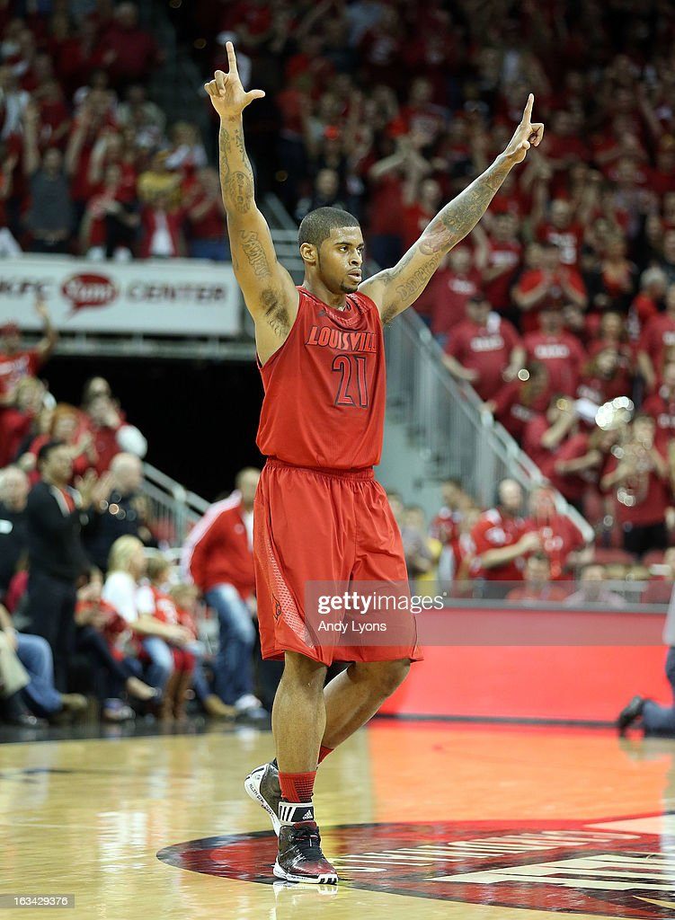Chane Behanan #24 of the Louisville Cardinals celebrates during the game against the Notre Dame Fighting Irish at KFC YUM! Center on March 9, 2013 in Louisville, Kentucky.