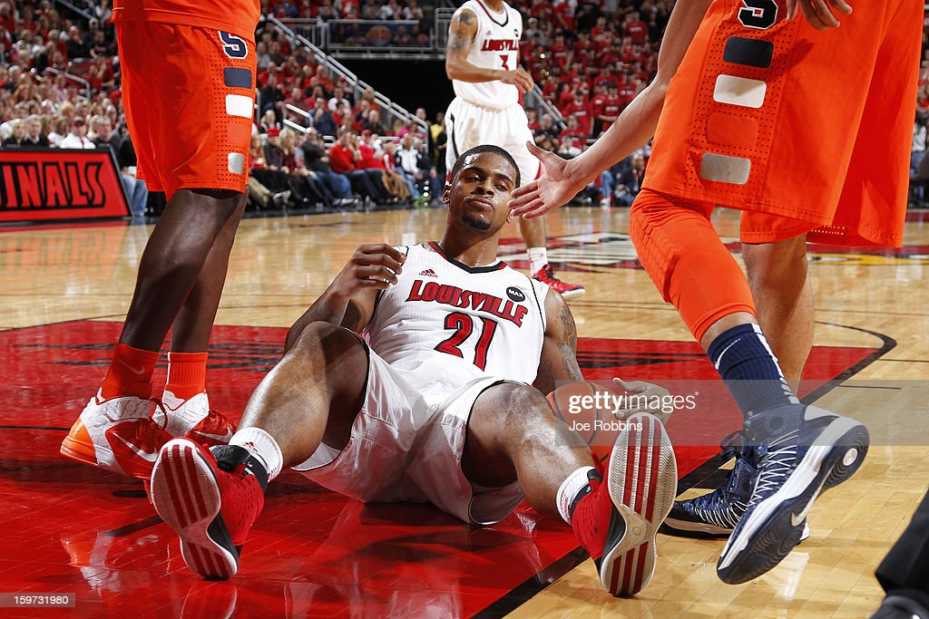 Chane Behanan #21 of the Louisville Cardinals reacts after being called for a foul against the Syracuse Orange during the game at KFC Yum! Center on January 19, 2013 in Louisville, Kentucky. Syracuse defeated Louisville 70-68.