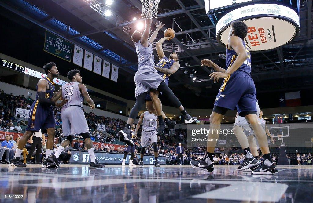 Chane Behanan #23 of the Salt Lake City Stars shoots the ball against Livio Jean-Charles #35 of the Austin Spurs at the H-E-B Center At Cedar Park on March 5, 2017 in Cedar Park, Texas.