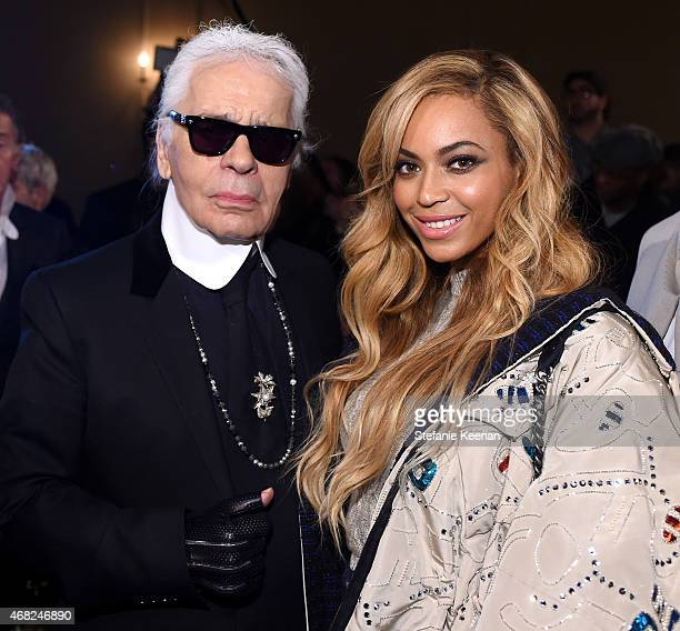 Chanel Artistic Director Karl Lagerfeld and Beyonce attend the CHANEL ParisSalzburg 2014/15 Metiers d'Art Collection in New York City at the Park...