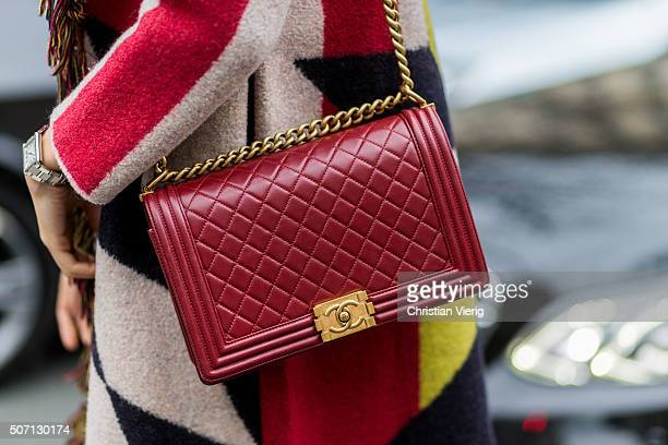 A Chanel bag outside Jean Paul Gaultier during the Paris Fashion Week Haute Couture Spring/Summer 2016 on January 27 2016 in Paris France
