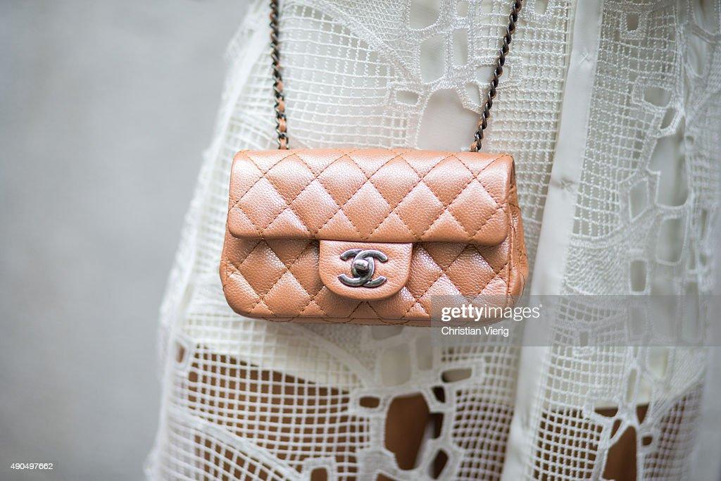 Chanel bag seen during Milan Fashion Week Spring/Summer 16 on September 27 2015 in Milan Italy