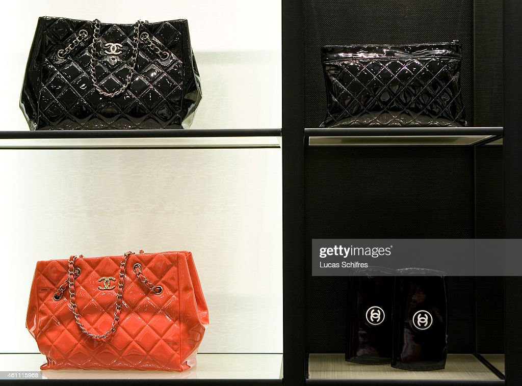Chanel bags in Chanel boutique in Peninsula hotel on December 3 2009 in Shanghai China Chanel's Peninsula hotel boutique is the largest Chanel store...