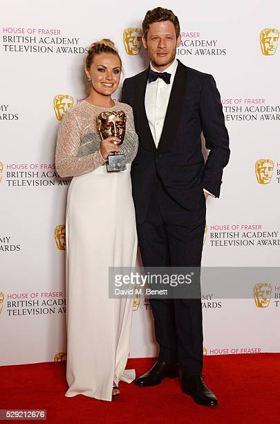 Chanel Cresswell winner of the Best Supporting Actress award for 'This Is England '90' and presenter James Norton pose in the winners room at the...