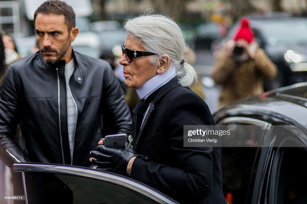 Chanel designer <a gi-track='captionPersonalityLinkClicked' href=/galleries/search?phrase=Karl+Lagerfeld+-+Fashion+Designer&family=editorial&specificpeople=4330565 ng-click='$event.stopPropagation()'>Karl Lagerfeld</a> outside Dior Homme during the Paris Fashion Week Menswear Fall/Winter 2016/2017 on January 23, 2016 in Paris, France.