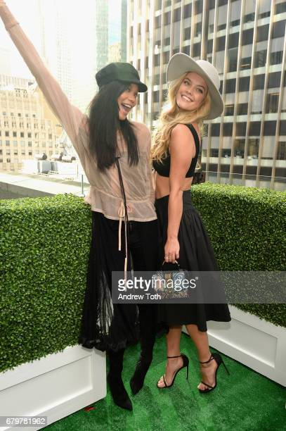 Chanel Iman and Nina Agdal attend GH Mumm and Usain Bolt's Toast to the Kentucky Derby on May 6 2017 in New York City