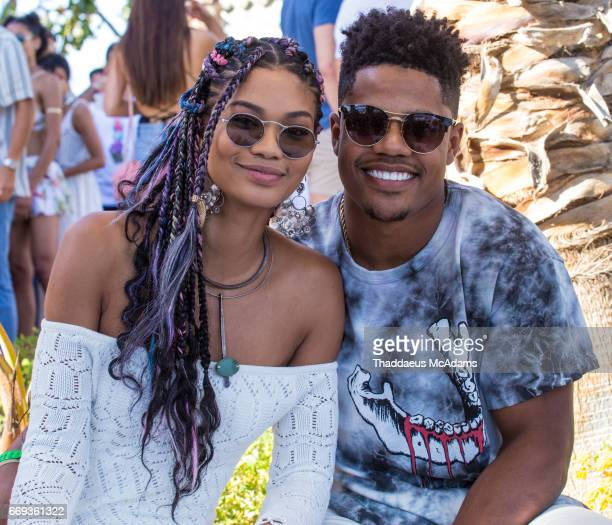 Chanel Iman and Sterling Shepard attend the REVOLVE Desert House during Coachella on April 15 2017 in Palm Springs California on April 15 2017 in...