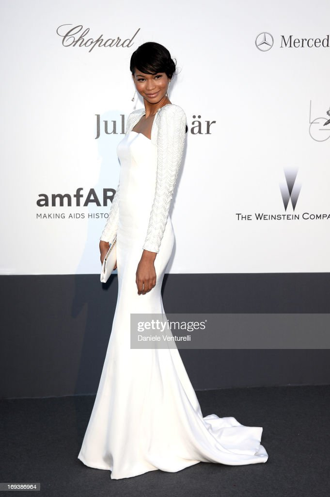 Chanel Iman arrives at amfAR's 20th Annual Cinema Against AIDS at Hotel du Cap-Eden-Roc on May 23, 2013 in Cap d'Antibes, France.