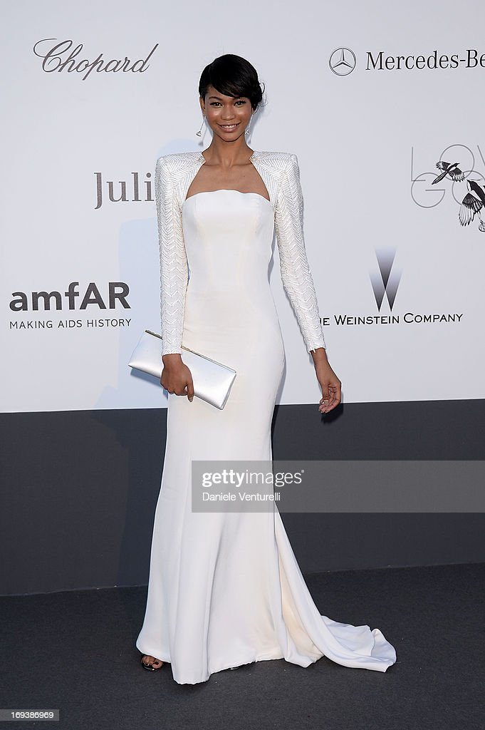 Chanel Iman arrives at amfAR's 20th Annual Cinema Against AIDS at Hotel du CapEdenRoc on May 23 2013 in Cap d'Antibes France
