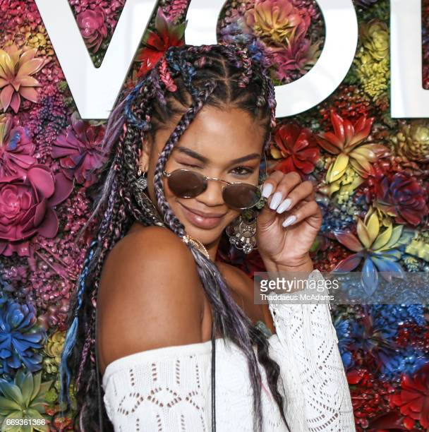 Chanel Iman arrives at the REVOLVE Desert House during Coachella on April 15 2017 in Palm Springs California on April 15 2017 in Palm Springs...
