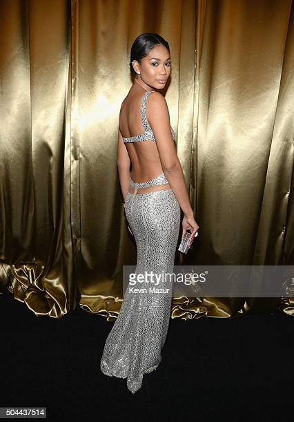 Chanel Iman attends The Weinstein Company and Netflix Golden Globe Party presented with DeLeon Tequila Laura Mercier Lindt Chocolate Marie Claire and...