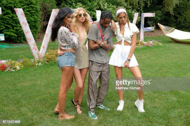 Chanel Iman Elsa Hosk Travis Scott and Josephine Skriver celebrate #REVOLVEintheHamptons Close Out Party with Moet Chandon on July 22 2017 in...