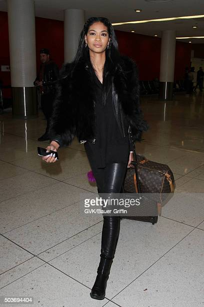 Chanel Iman is seen at LAX on January 06 2016 in Los Angeles California