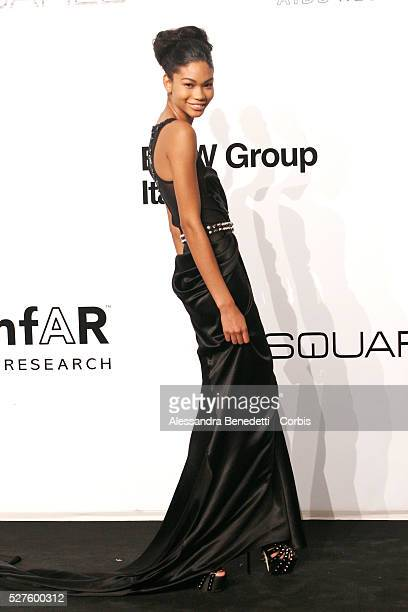 Chanel Iman on the AmfAR Milano 2009 red carpet during the inaugural Milan Fashion Week event at La Permanente