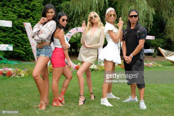 Chanel Iman Raissa Gerona Elsa Hosk Josephine Skriver and Michael Mente celebrate #REVOLVEintheHamptons Close Out Party with Moet Chandon on July 22...