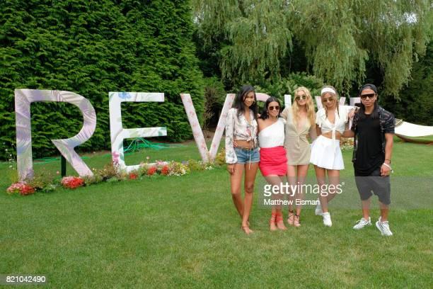 Chanel Iman Raissa Gerona Elsa Hosk Josephine Skriver and Michael Mente celebrate #REVOLVEintheHamptons Close Out Party with Moet Chandon on July 22...