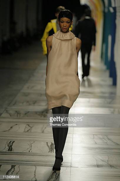 Chanel Iman wearing 31 Phillip Lim Fall 2007 during MercedesBenz Fashion Week Fall 2007 31 Phillip Lim Runway at Waterfront Building in New York City...