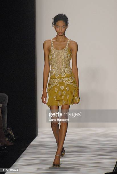 Chanel Iman wearing Badgley Mischka Spring 2007 during Olympus Fashion Week Spring 2007 Badgley Mischka Runway at The Tent Bryant Park in New York...