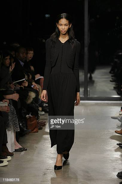 Chanel Iman wearing Bruce Fall 2007 during MercedesBenz Fashion Week Fall 2007 Bruce Runway at Bumble and Bumble in New York City New York United...