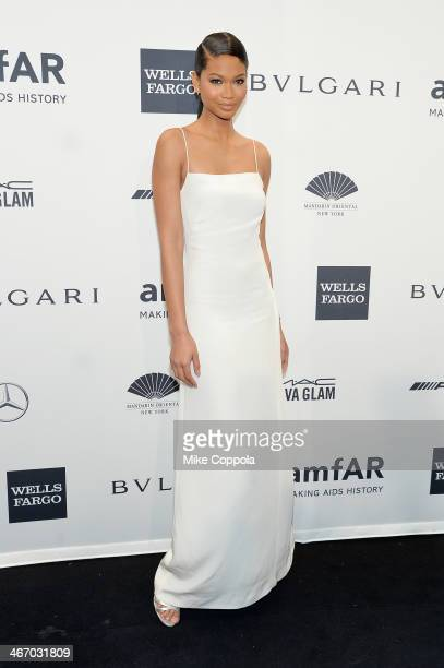 Chanel Iman wearing Bulgari attends the 2014 amfAR New York Gala at Cipriani Wall Street on February 5 2014 in New York City