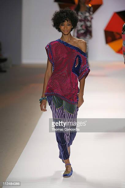 Chanel Iman wearing Custo Barcelona Spring 2007 during Olympus Fashion Week Spring 2007 Custo Barcelona Runway at The Promenade Bryant Park in New...