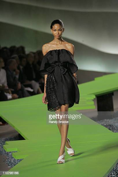 Chanel Iman wearing Marc Jacobs Spring 2007 during Olympus Fashion Week Spring 2007 Marc Jacobs Runway at New York State Armory in New York City New...