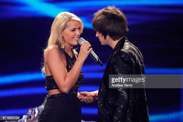 Chanelle Wyrsch and Alexander Jahnke perform during the third event show of the tv competition 'Deutschland sucht den Superstar' at Coloneum on April...