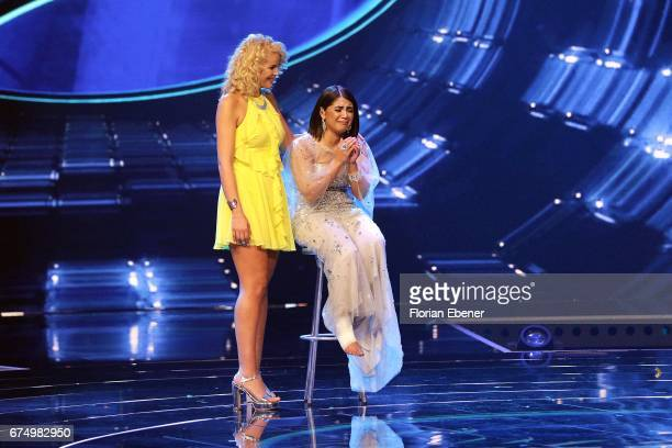 Chanelle Wyrsch and Duygu Goenel during the fourth event show and semi finals of the tv competition 'Deutschland sucht den Superstar' at Coloneum on...