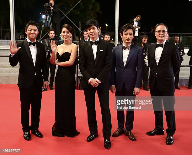 Chang Sungryoung Kim and Junsang Yu and guest attend the 'Pyo Jeok' premiere during the 67th Annual Cannes Film Festival on May 22 2014 in Cannes...