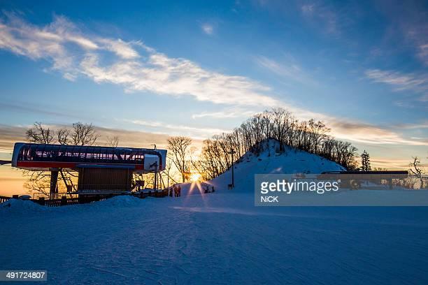 Changbaishan ski field at sunset.