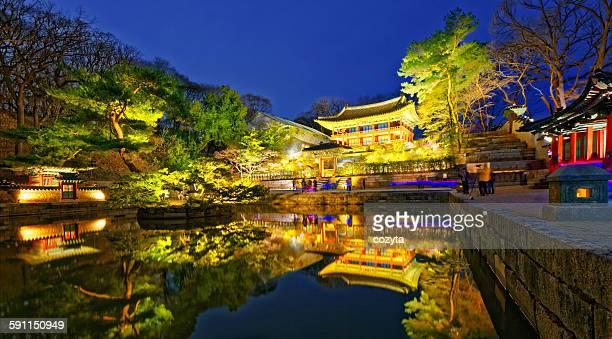 Changdeokgung palace at night in Seoul, Korea