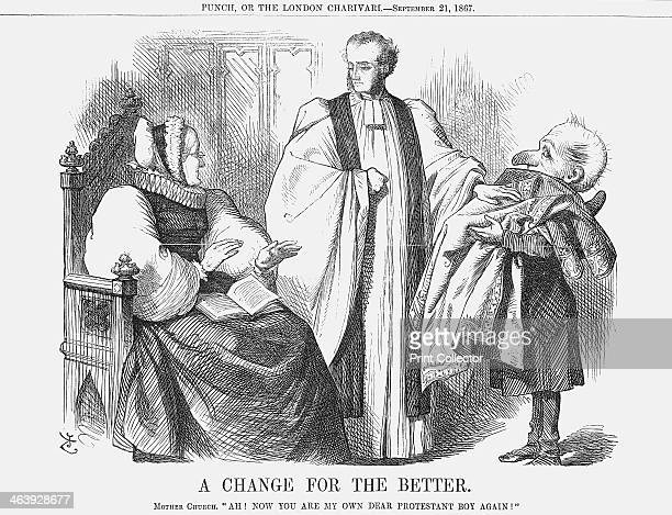 'A Change for the Better' 1867 A protestant minister has removed his embroidered top clothes which look very much like the chasubles worn by Catholic...