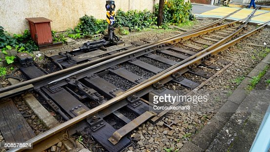 Change point of a railroad : Stock Photo