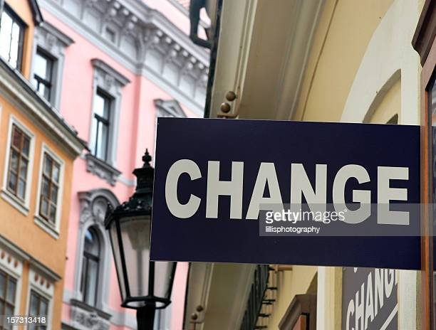 Change Street Sign Money Exchange Europe
