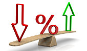 Red percent sign and arrows on the scales. The scales in the equilibrium position. Financial concept