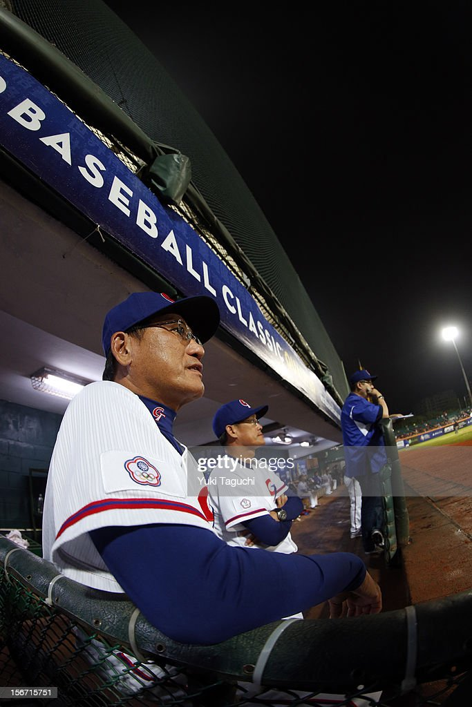 Chang-Heng Hsieh #81 manager of Team Chinese Taipei looks on from the dugout during Game 6 of the 2013 World Baseball Classic Qualifier against Team New Zealand at Xinzhuang Stadium in New Taipei City, Taiwan on Sunday, November 18, 2012.