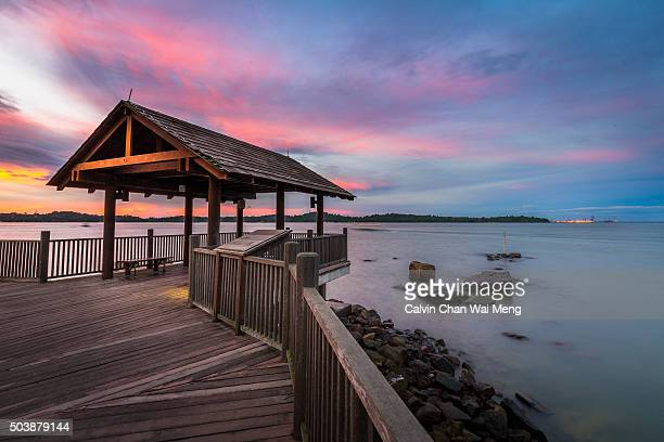 Changi point broad walk with dramatic sky during sunset- Singapore