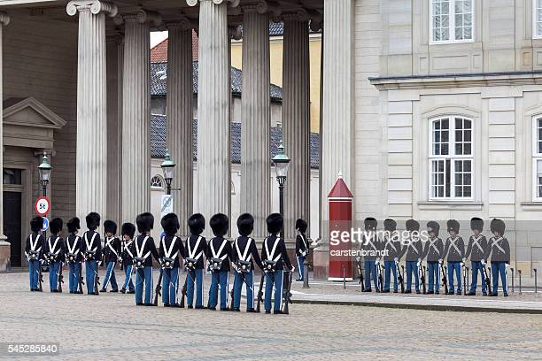 Changing of the guard at Amalienborg Palace, Copenhagen, Denmark