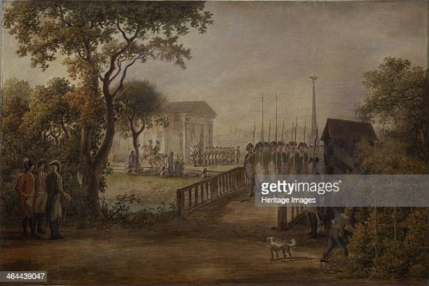 Changing of the Guard at the Tsarinas Meadow in Saint Petersburg 1799 Found in the collection of the State Tretyakov Gallery Moscow