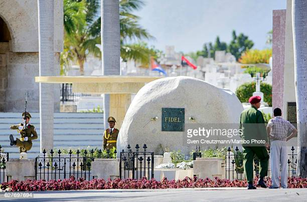 Changing of the guards takes place at the grave that holds the ashes of Cubas Revolution leader Fidel Castro at the Santa Ifigenia cemetary on...