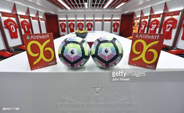 Changing room of Liverpool before the Premier League match between Liverpool and AFC Bournemouth at Anfield on April 5 2017 in Liverpool England