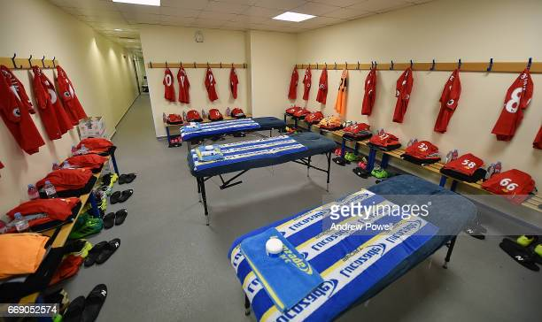 Changing room of Liverpool before the Premier League match between West Bromwich Albion and Liverpool at The Hawthorns on April 16 2017 in West...