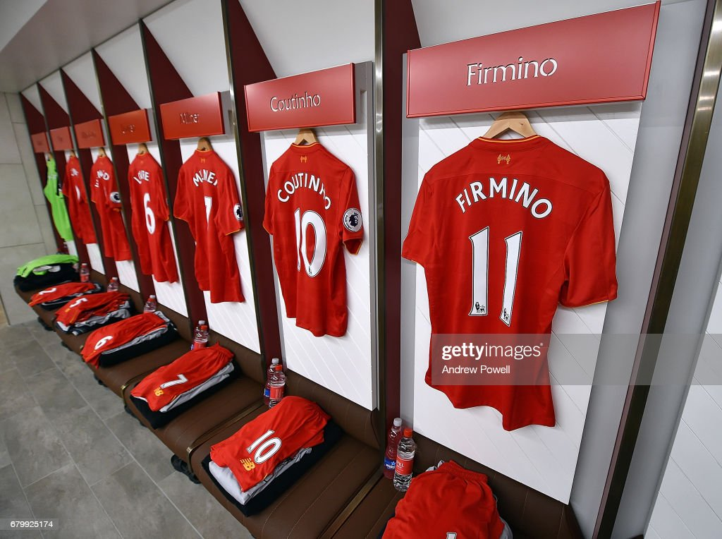 Changing room of Liverpool before the Premier League match between Liverpool and Liverpool at Anfield on May 7, 2017 in Liverpool, England.