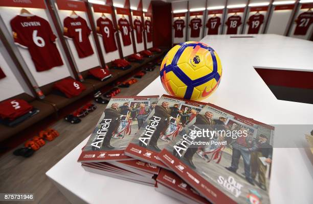 Changing Room of Liverpool before the Premier League match between Liverpool and Southampton at Anfield on November 18 2017 in Liverpool England