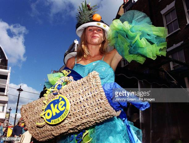 Changing Rooms television presenter Linda Barker adourned with a selection of fairtrade fruit designed headwear in Soho central London Linda Barker...