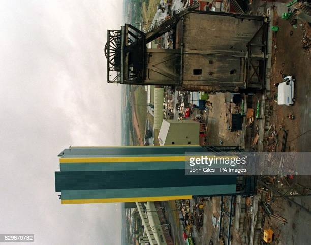 Changing the face of RJB Harworth Colliery engineers slide the old style winding gear weighing 1527 tonnes away in one piece and prepare to wheel in...