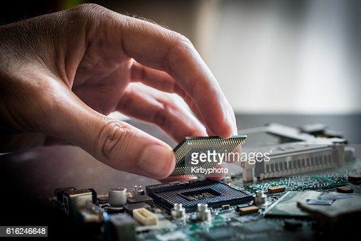 Changing the processor : Foto de stock